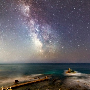 Pier, Shark Fin and Milky Way